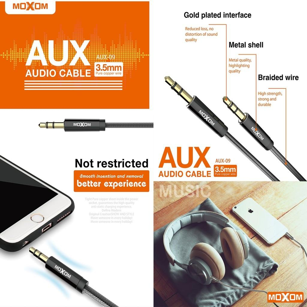 Moxom AUX-09 Pure Copper Wire 3.5mm Aux Audio 1M Braided Wire Cable Grab (Blac