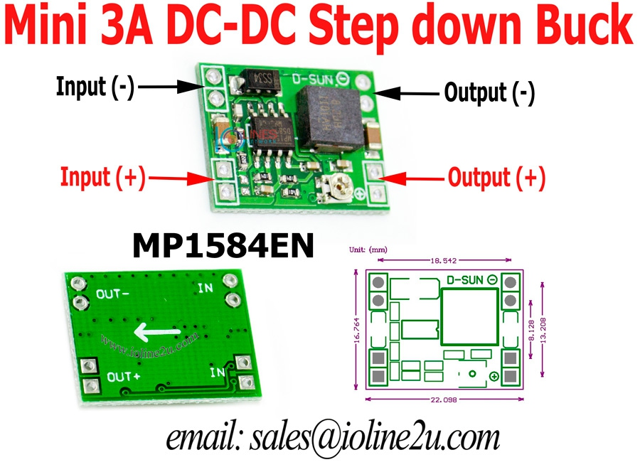 MP1584EN Adjustable 3A DC-DC Step down power converter buck mini size LM2596 4