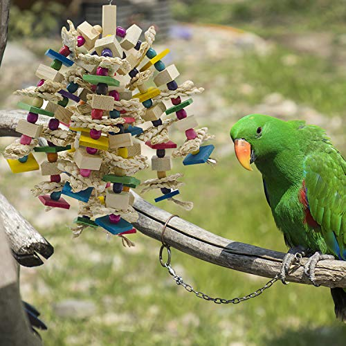 MQ Bird Toy Parrot Toy Made with Nature Wood, Parrot Toys for Large and Medium