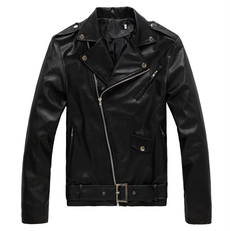 MS0042D Spring Korean Slim Washed PU Leather Motorcycle Jacket