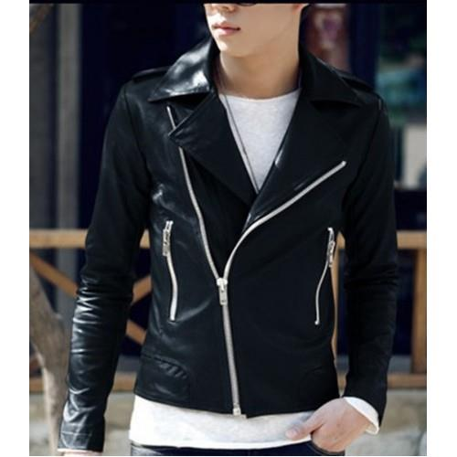 MS0044D Korean Slim Wagon PU Leather Jacket