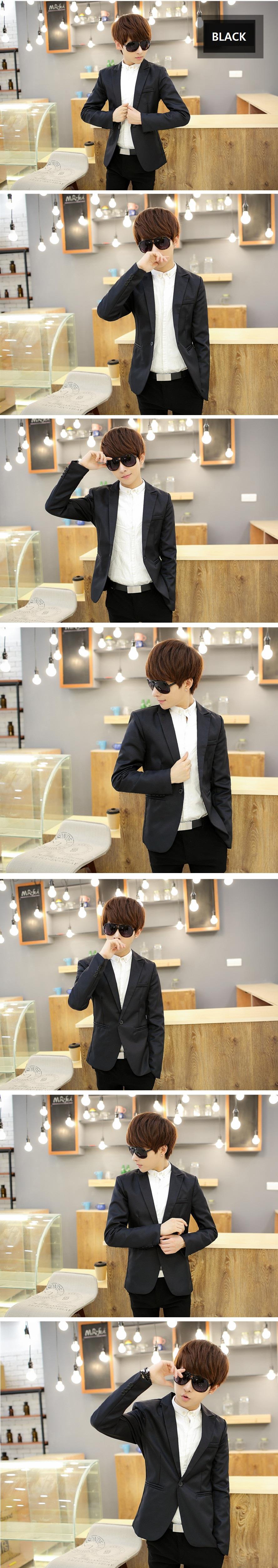 Ms0061d Korean Casual Slim Solid Co End 11 19 2019 815 Pm Black Blazer Jaket Korea Style Sk 15 Color Suit Jacket