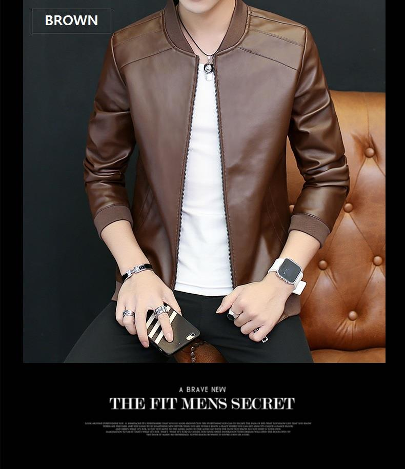 MS0230 Korean Casual Slim Men's leather jacket