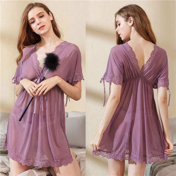 e62d8bd16d9f MS467 Purple Deep-V Babydoll Dress Transparent Sleepwear Sexy Lingerie. ‹ ›