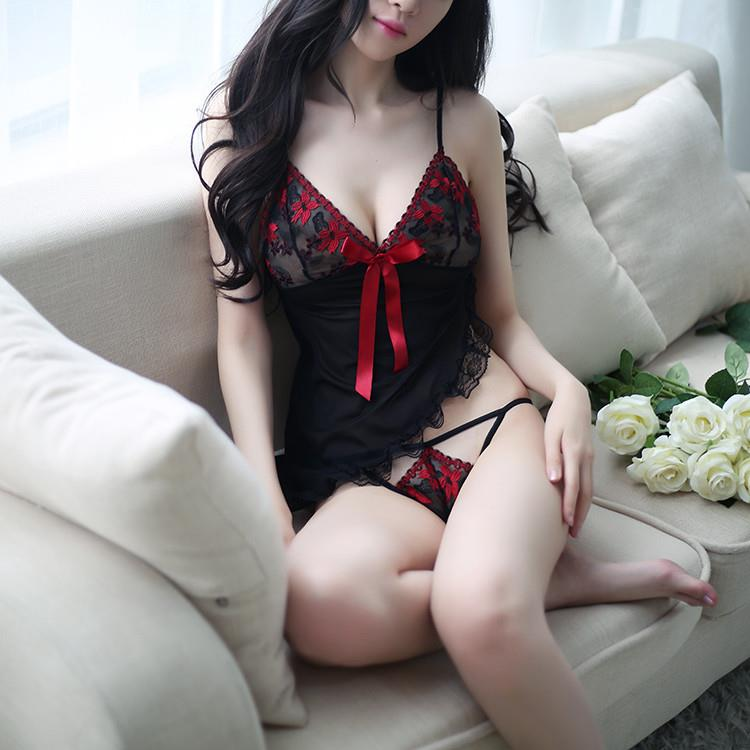 MS469 Black Red Floral Embroidery Transparent Lace Sleepwear Sexy Ling be3a8dbe61