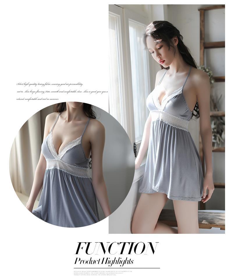 8f1fd683d74e6 MS488 Light Blue White Lace Sexy Back Strap Babydoll Sleepwear Lingeri
