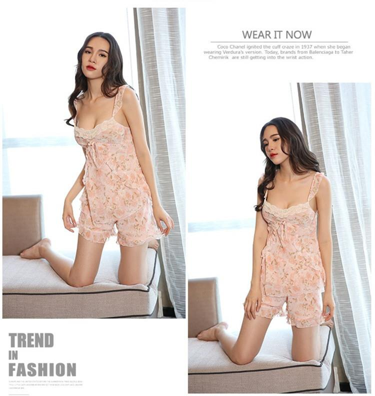 e683b105475 MS506 Sweet Pink Floral Camisole Pants Set Sexy Sleepwear Lingerie
