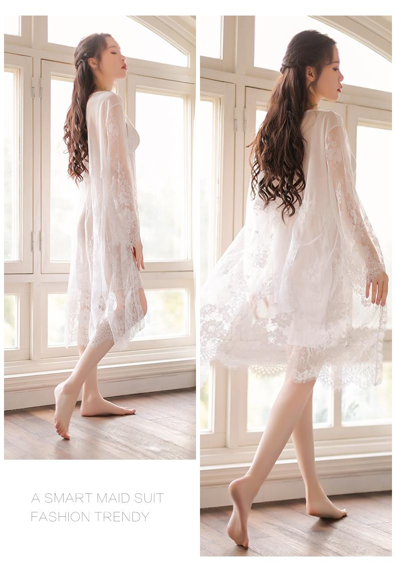 dae3c3b21128c MS520 White Lace Babydoll Dress and Robe Sleepwear Set Sexy Lingerie