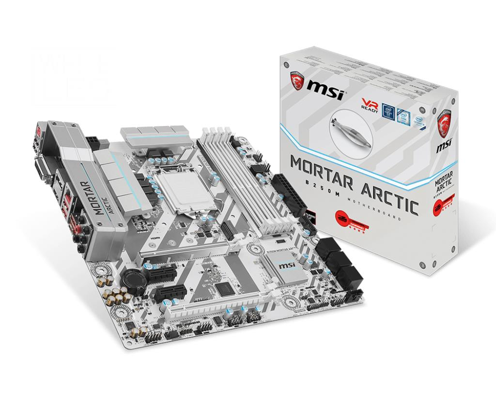 MSI B250M Mortar Arctic LGA1151 DDR4 mATX Motherboard For Intel