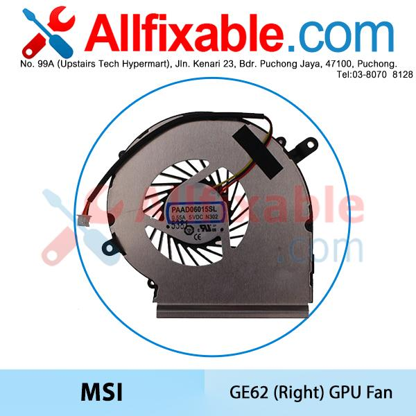 MSI GE62 GL72 GP62 GP72 PE60 PE70, PAAD06015SL N303 (Right) GPU Fan