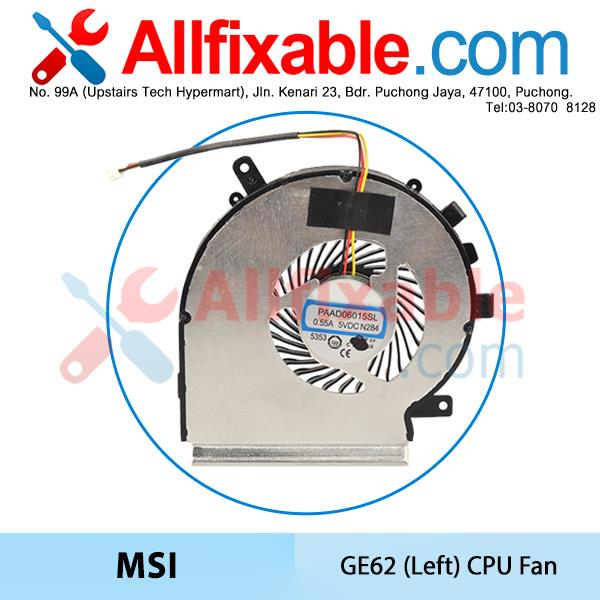 MSI GE62 GL72 GP62 GP72 PE60 PE70, PAAD06015SL N303 (Left) CPU Fan
