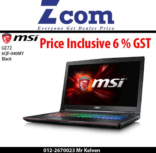 MSI GE72 6QF-040MY(Black)(Gaming Bag)(Ori Msia)