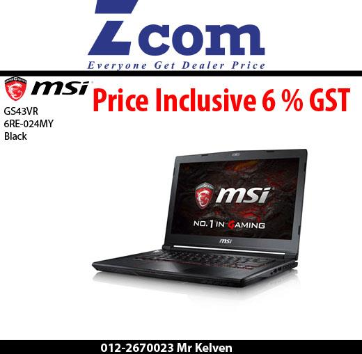 MSI GS43VR 6RE-024MY(Phantom Pro)(Black)(Brief Bag)(Ori Msia)