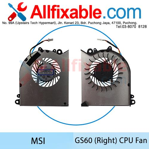 MSI GS60 (Right) GS60 2PL GS60 2QE GS60 2PE Ghost Pro CPU Fan