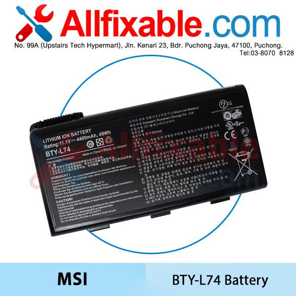 MSI L74 CR600X CR610X CR620 CR630X CR700X CR720X CX500X CX600X Battery