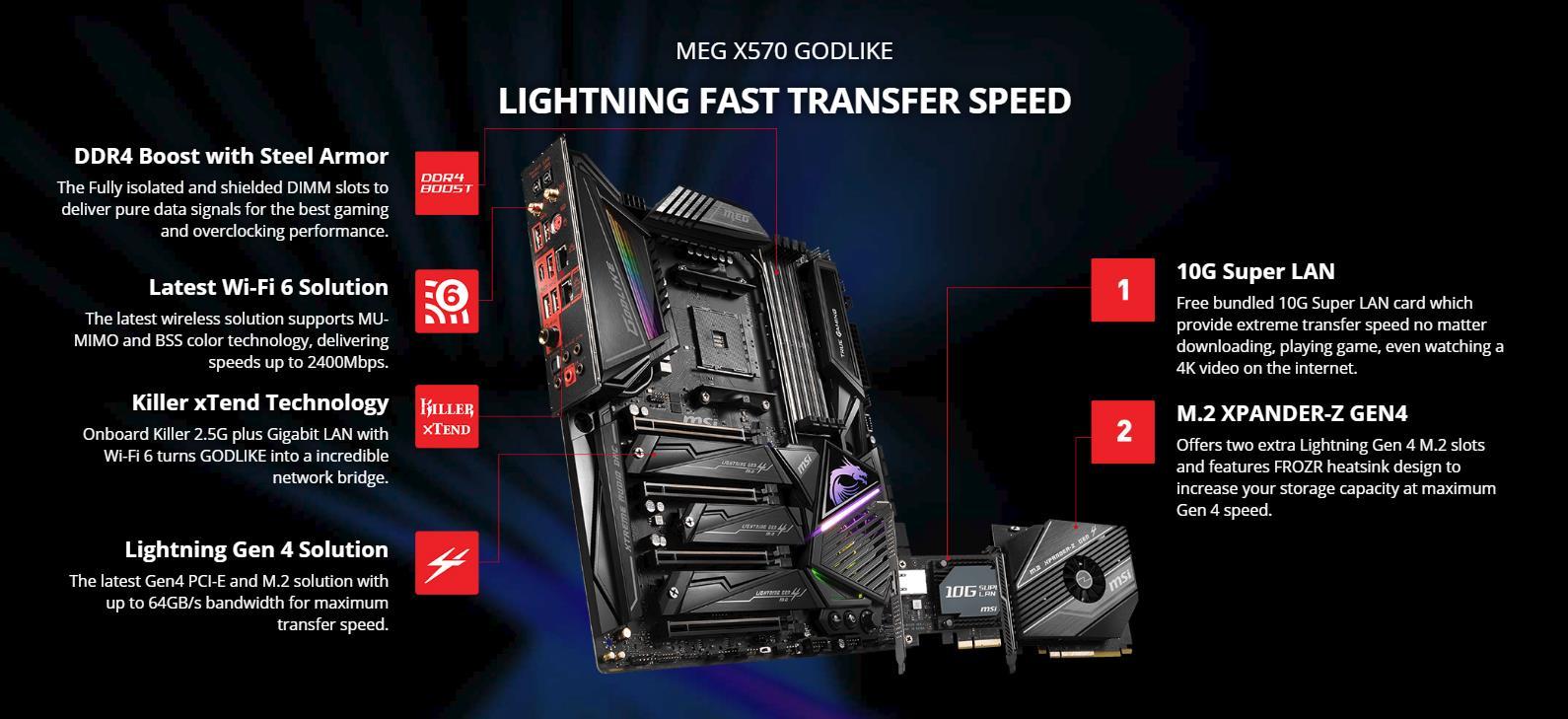 MSI MEG X570 GODLIKE AMD AM4 X570 E-ATX Gaming Motherboard