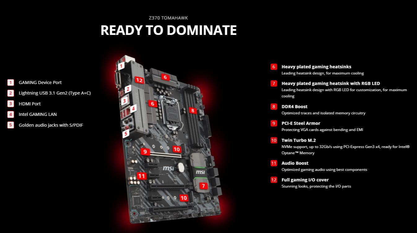 MSI Z370 TOMAHAWK INTEL Z370 LGA 1151 (300 Series) ATX MOTHERBOARD