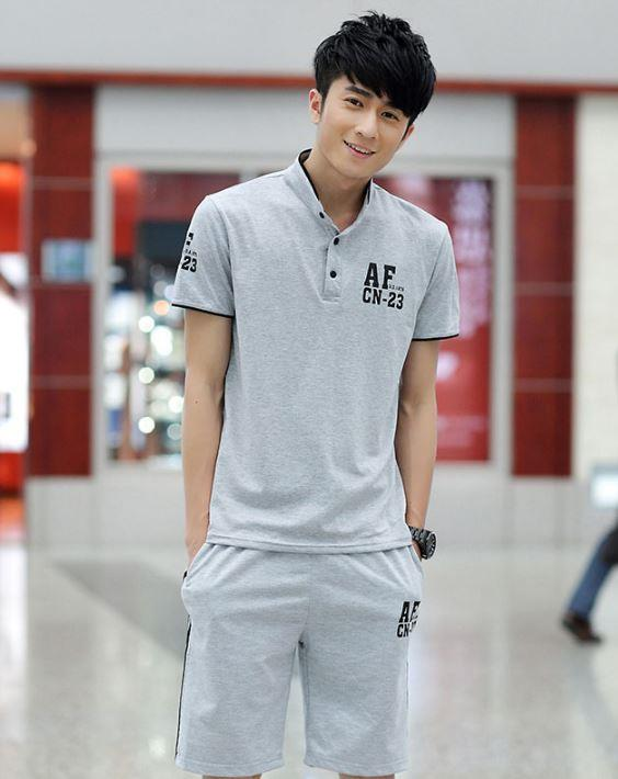 MSP01 Men Sport Casual Short Sleeve Shirt and Short pants in 1 set