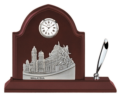MSP36123 - Pewter Clock & Pen Holder, Malaysia Landmark