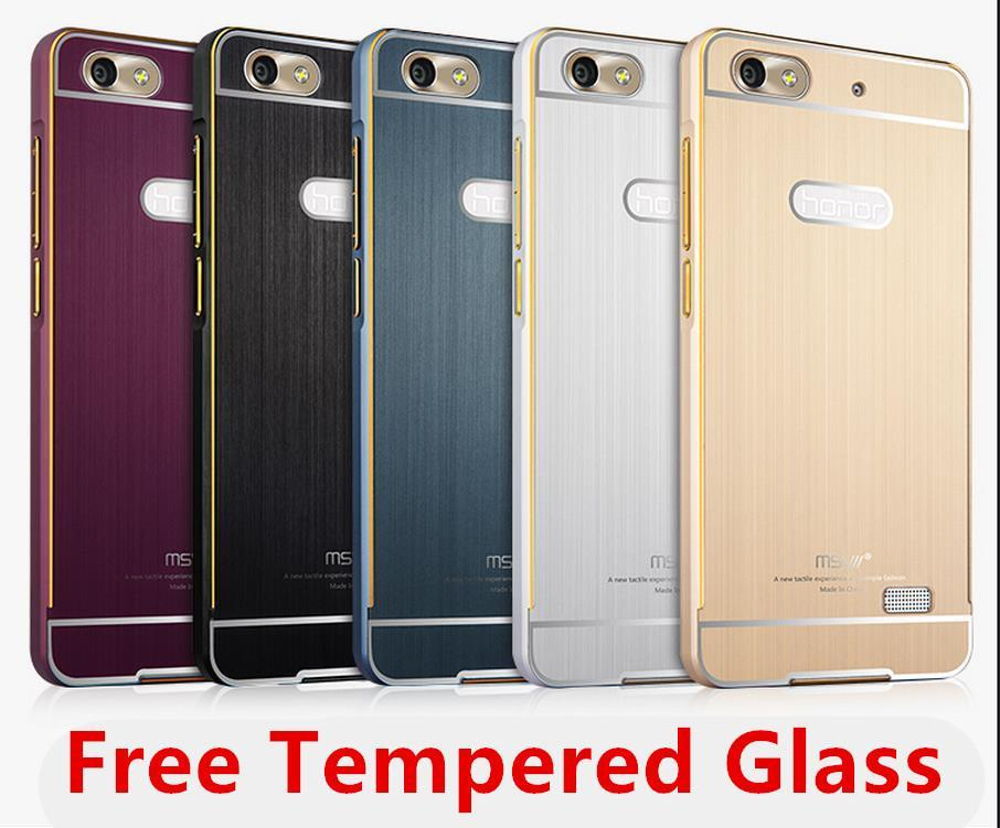 sale retailer 9bf80 a4741 Msvii Huawei Honor 4C Metal Bumper Case Cover Casing + Tempered Glass
