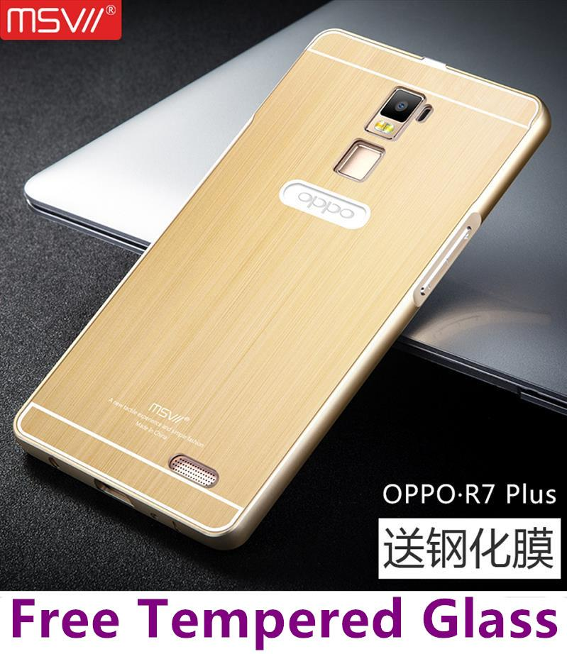 Msvii OPPO R7 Lite Plus Metal Frame Case Cover Casing +Tempered Glass