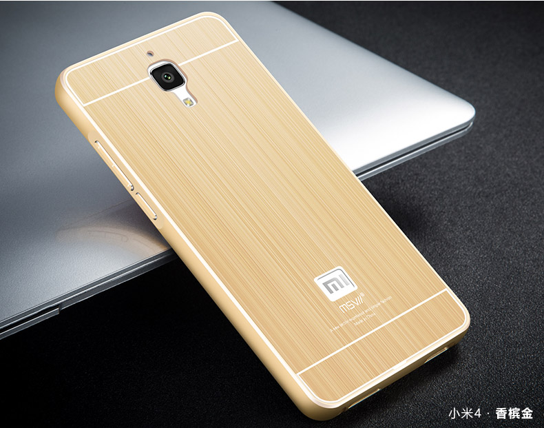 Msvii Xiaomi Mi4 4 4i Metal Bumper Case Cover Casing + Tempered Glass