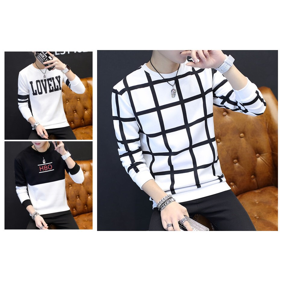 MT 020  Men s Long Sleeve T-shirt Black White Line Stripe Checker Lovely.  ‹ › 45e7393bd66
