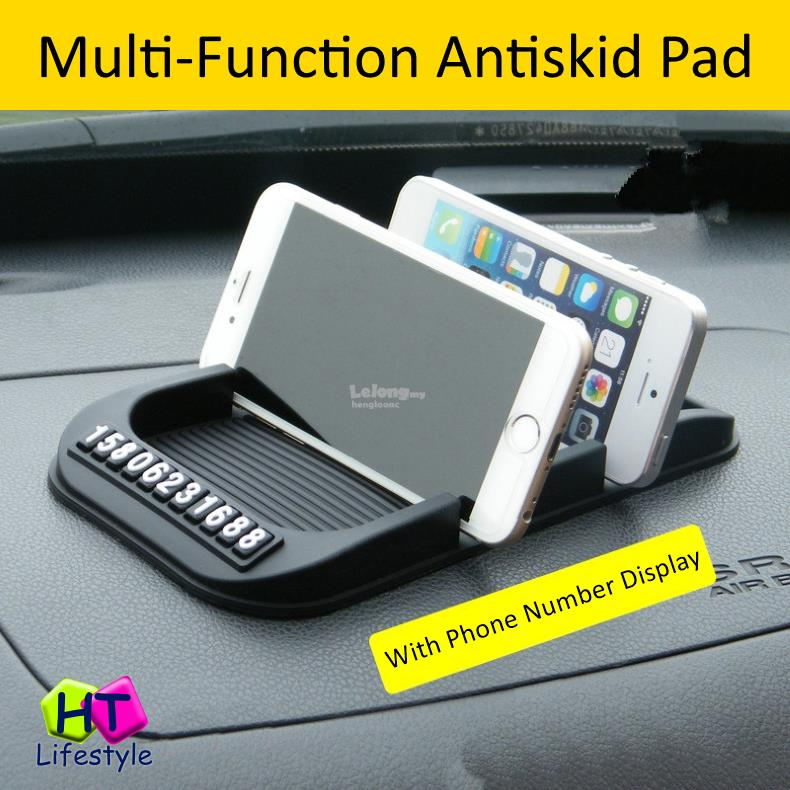Multi Function Car Dashboard Anti Skid Two Slot Phone Holder Pad