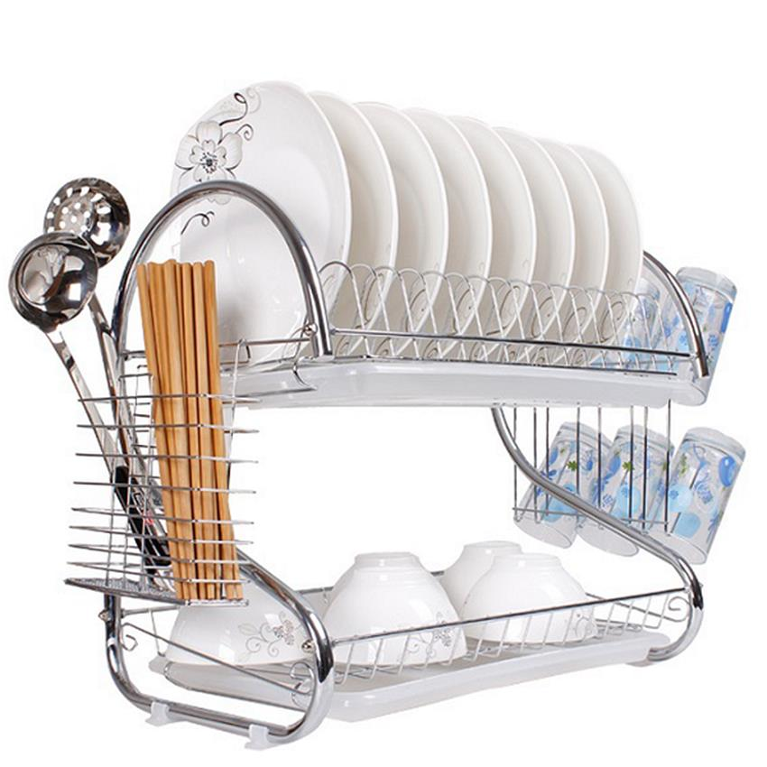 Multi-functional Stainless Steel 2 Tier Chrome Dish Drainer