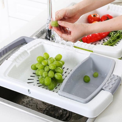 Multi-purpose Stretchable Cutting Board Drain Tray (GRAY)