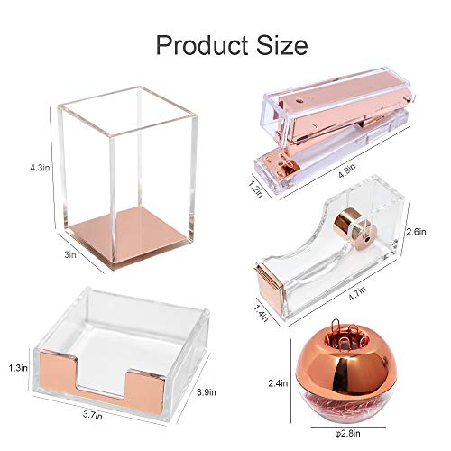 Multibey Clear Acrylic Office Supplies Desk Organizers, 5 in 1 Desktop Organiz