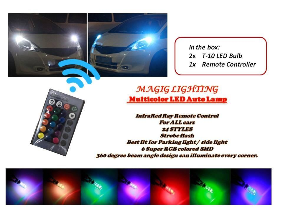 Multicolor LED Car Auto Lamp of Infrared Ray Remote Control .