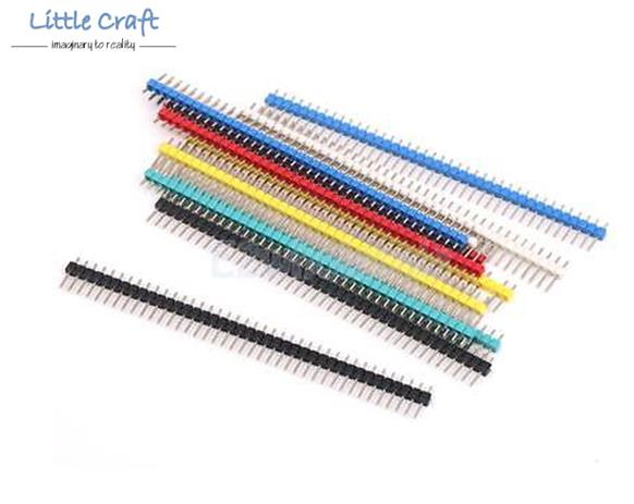Multicolor Straight Pin Header Single Row 40 ways (Male) - 2.54mm Pitc