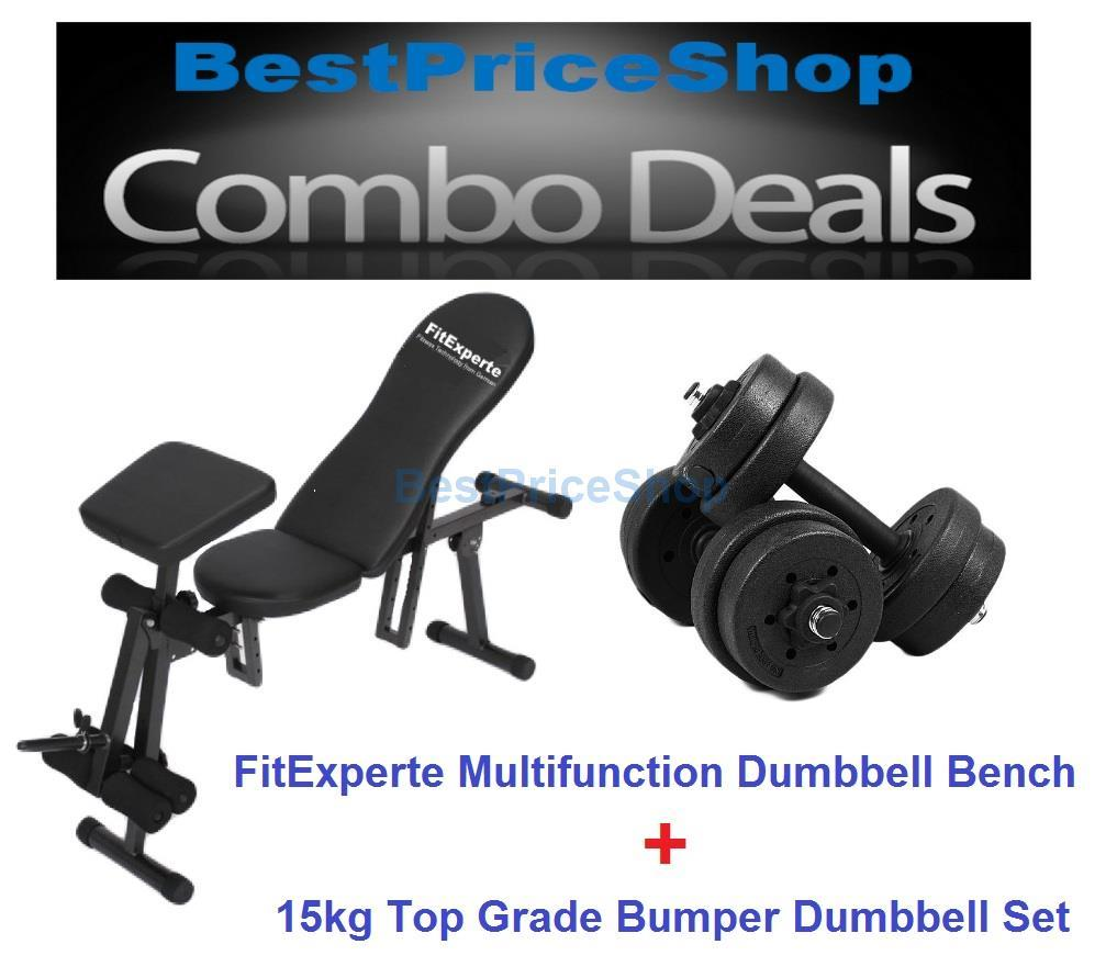 Multifunction Dumbbell Sit Up Bench & 15kg Bumper Plate Dumbbell Set