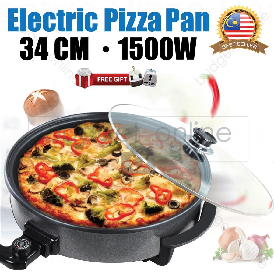 Multifunction Electric Pizza Maker Pan Non-Stick Multi Cooker 1500W