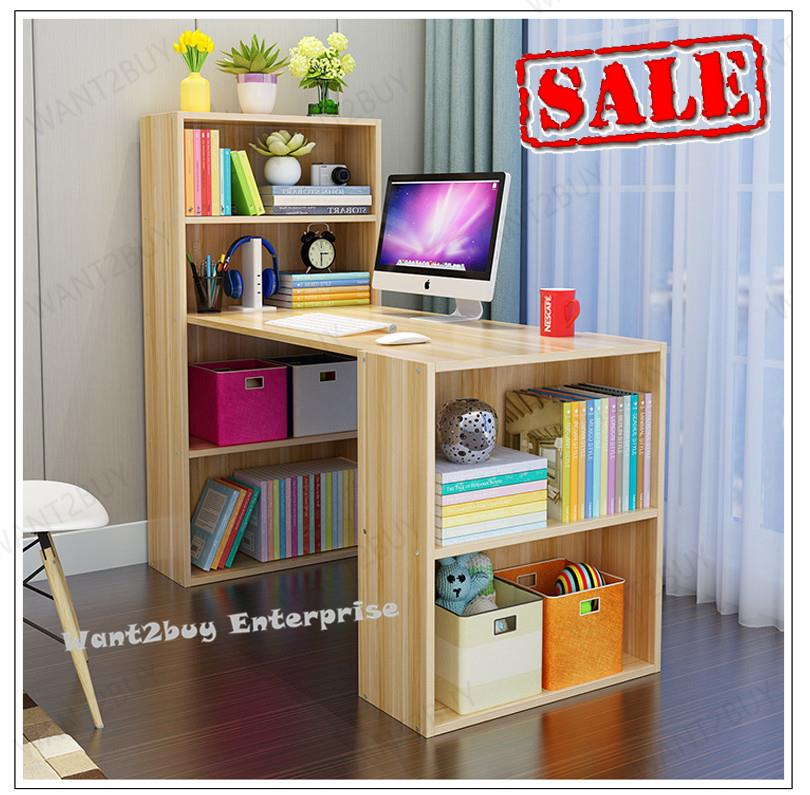 New Multifunction Office Study Writing Computer Table With Bookshelf