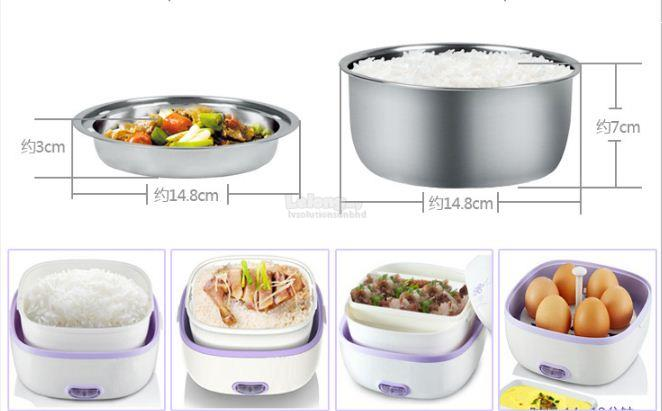 Multifunction Portable Electric Mini Rice Cooker Lunch Box Stainless S