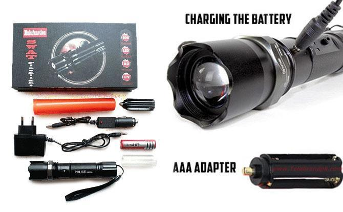 Multifunction SWAT Zoom Flashlight/Torchlight/LampuSuluh Rechargeable
