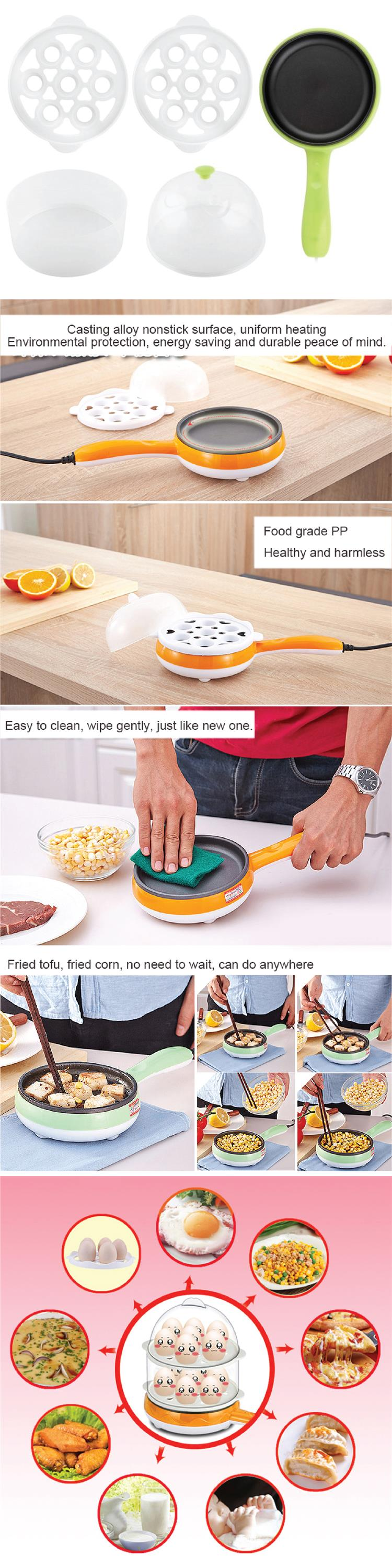 Multifunctional Double Layer Mini Electric Frying Pan Egg Grill Steam
