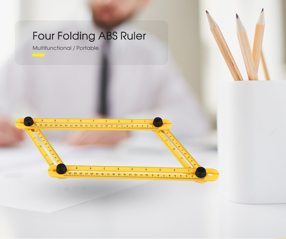 Multifunctional Four Folding ABS Ruler Measuring Tool