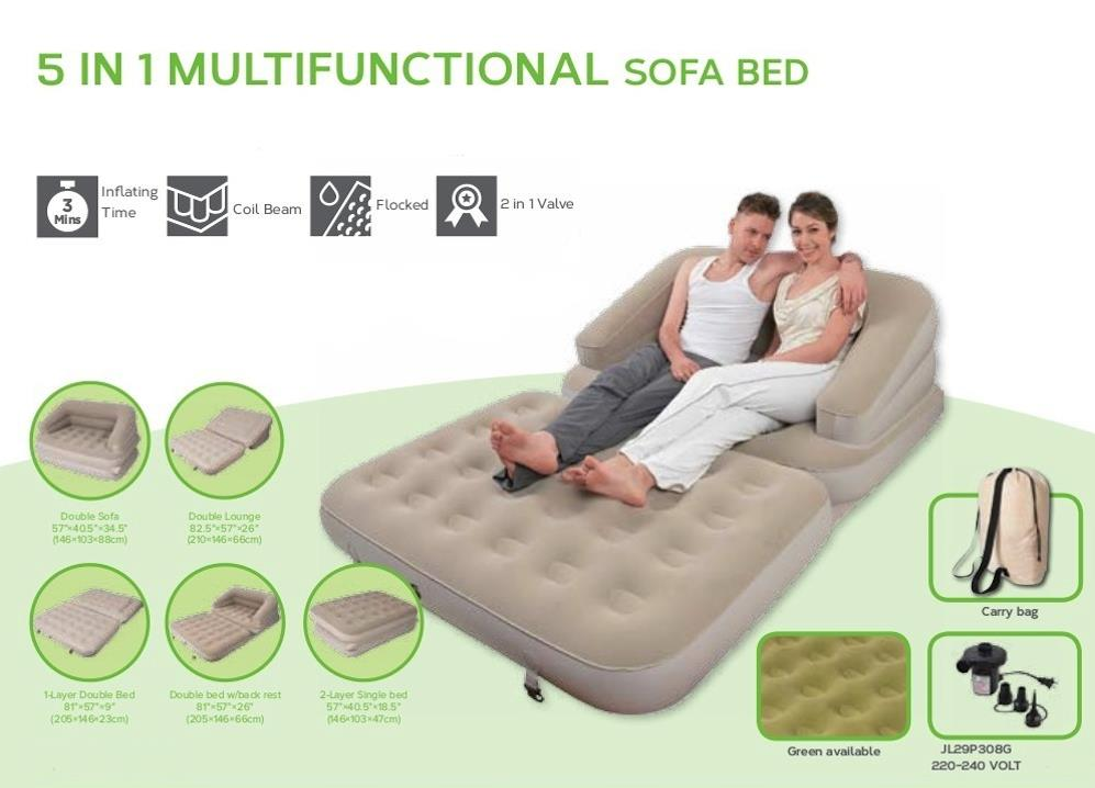 Multifunctional Inflatable Air Sofa Bed Mattress W/ Electric Air Pump