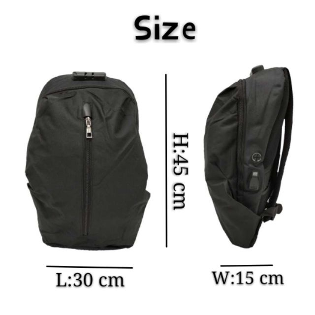 Multifunctional Lock Anti Theft Backpack USB Charging Laptop Bag
