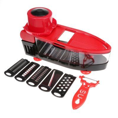Multifunctional Manual Food Shredder Vegetable Fruit Cutter (LOVE RED)