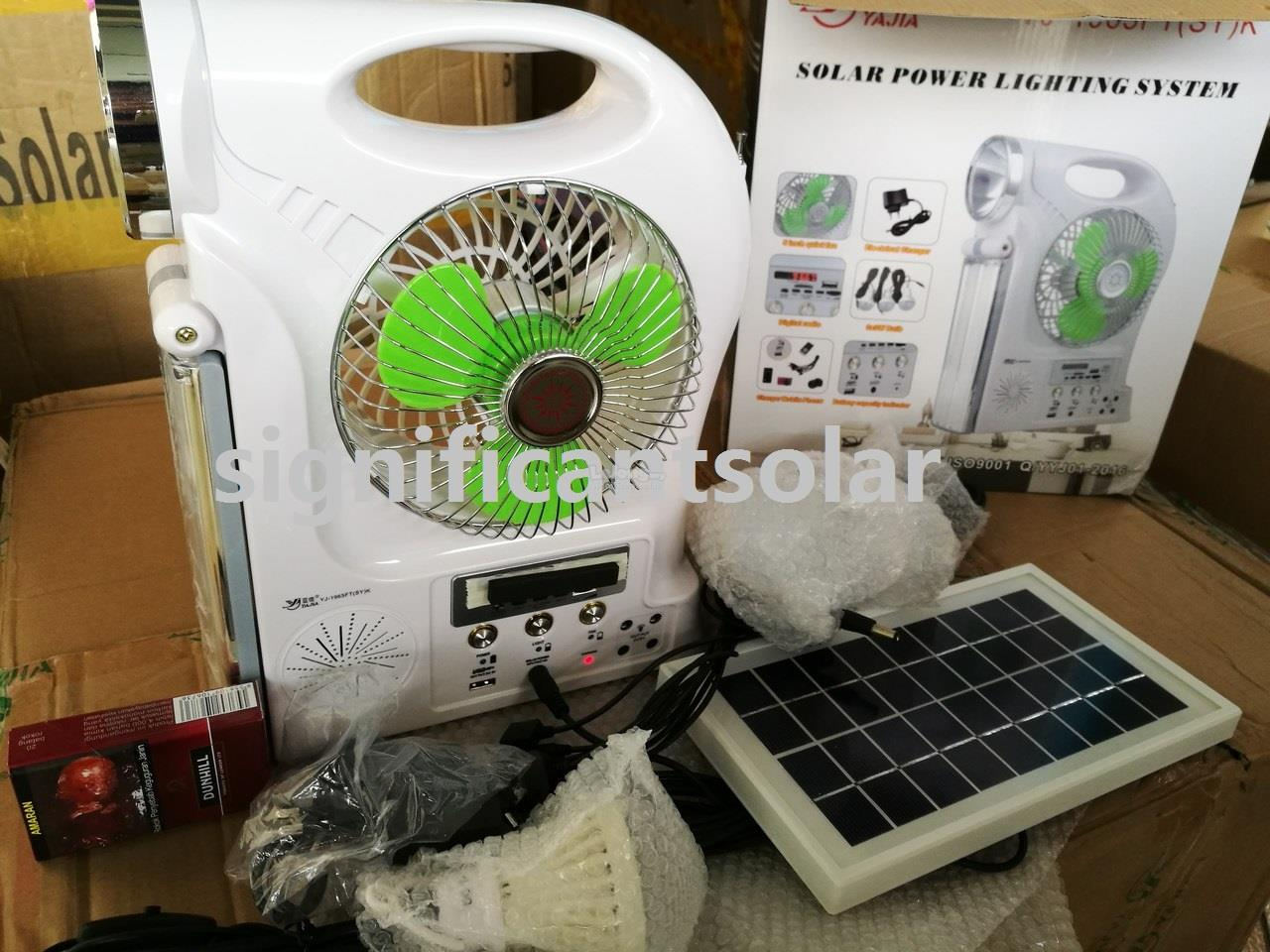 Multifunctional Rechargeable Solar Fan Radio MP3 Lamp Charger