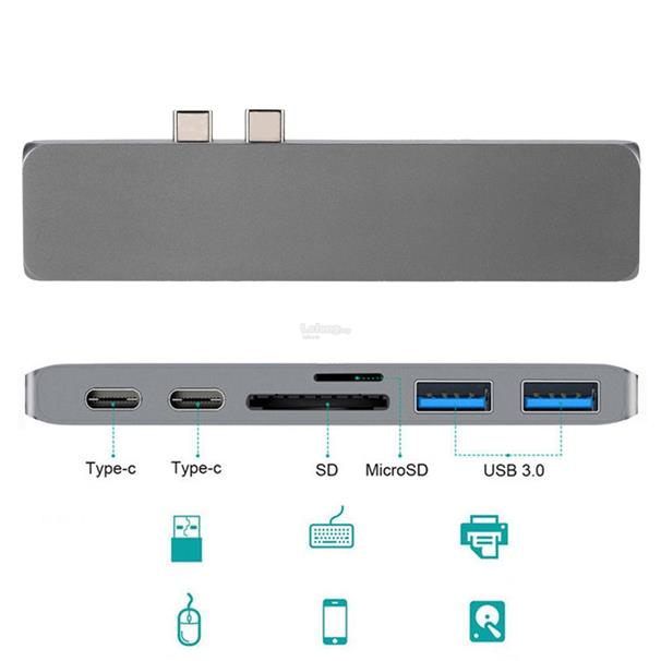 Multifunctional USB Hub Dual Type-C Multiports Card Reader Adapter 4K