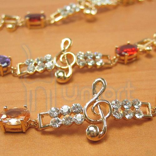 Music High Notes Alloy Diamond Gemstone Bracelet