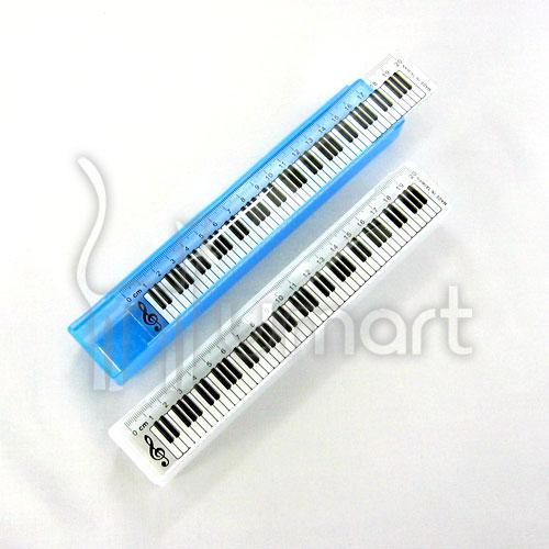 Music Piano Keyboard Colurful Clear Pencil Box With 20cm Ruler