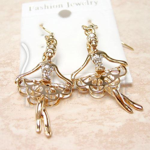 Musical Ballet Girl Gold Diamond Earrings