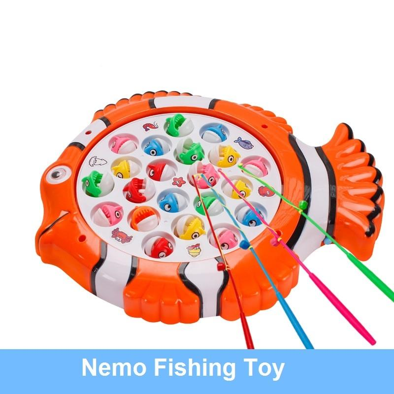 Musical Toys Rotating Fish Toy Fish Board with 21 Toy Fish and 4 Rod