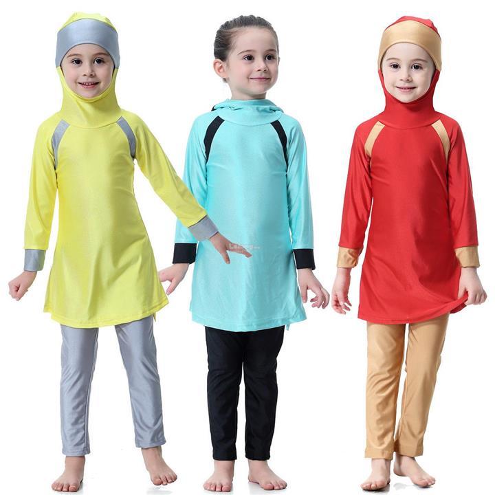 9bfea60144 Muslim Arab Kid Baby Girls Modest Swimwear Full Cover Swimsuit Islamic